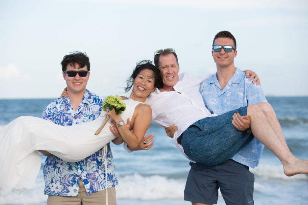 beach wedding bride and groom funny