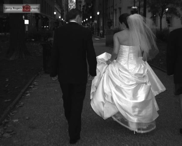 black and white wedding city